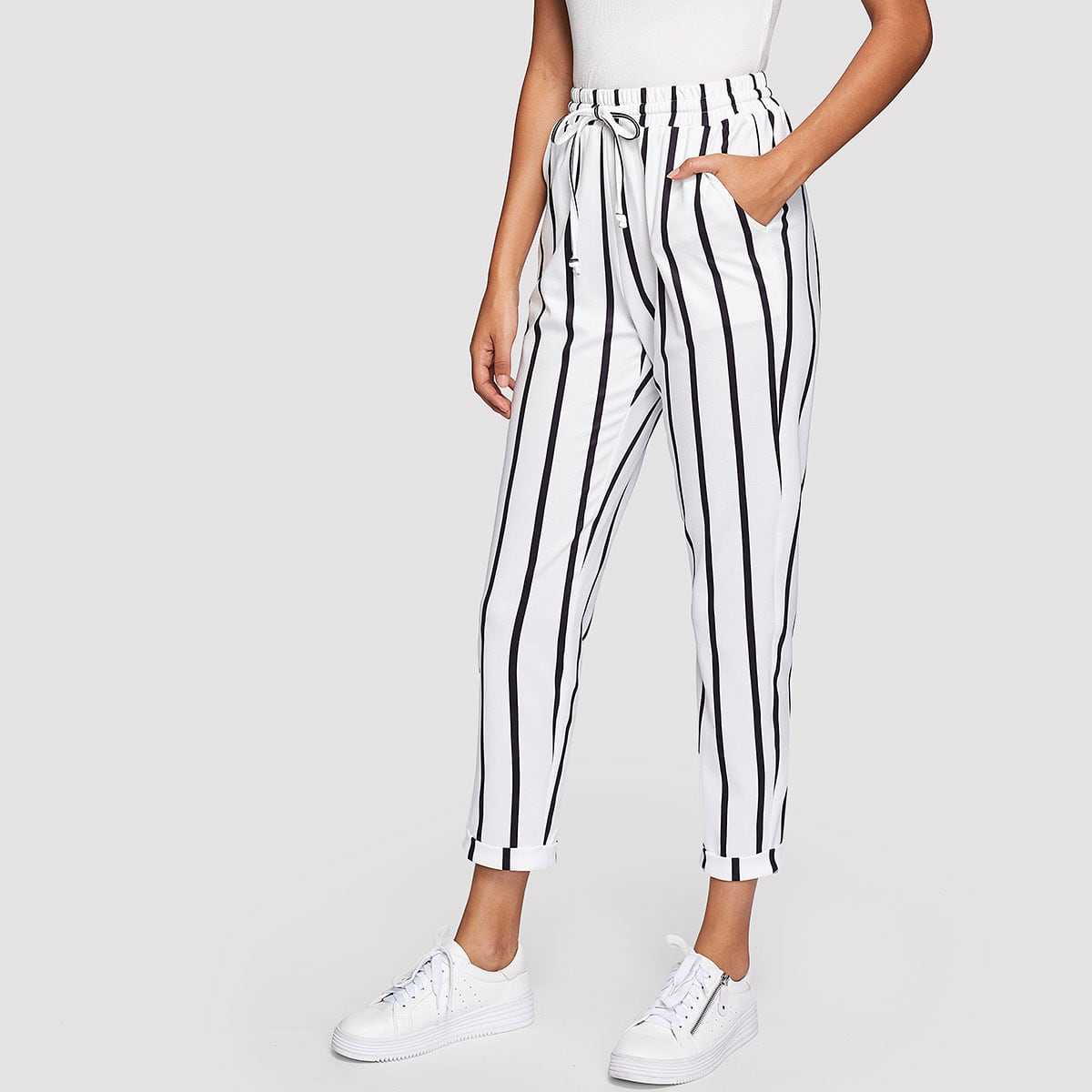 Drawstring Waist Striped Tapered Pants in Black and White by ROMWE on GOOFASH