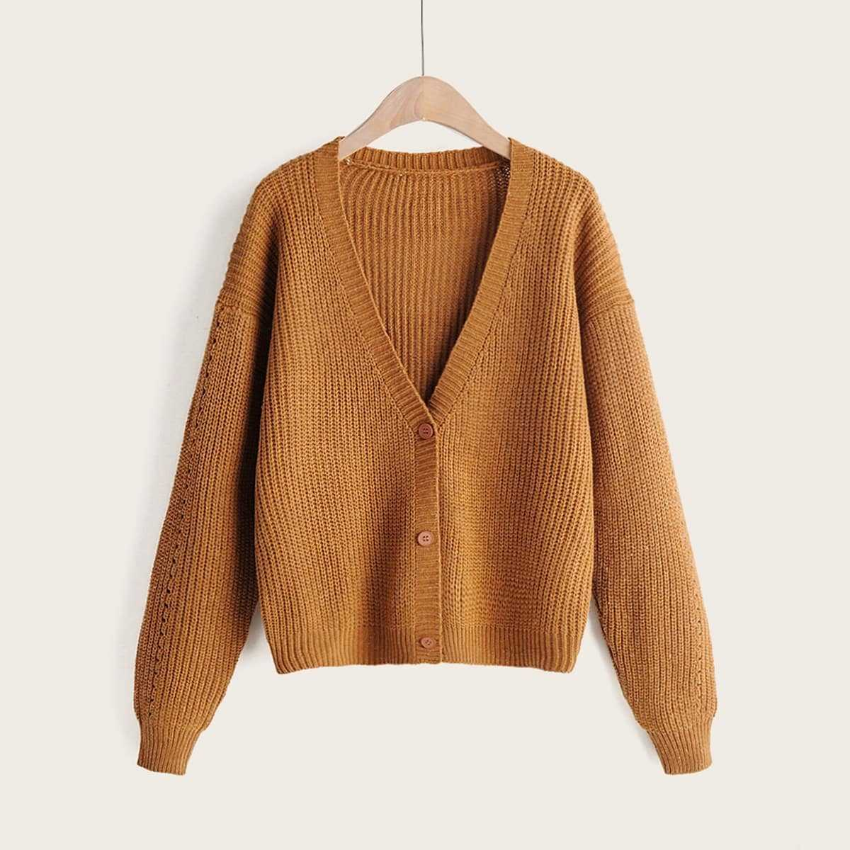 Drop Shoulder Button Through Cardigan in Brown by ROMWE on GOOFASH