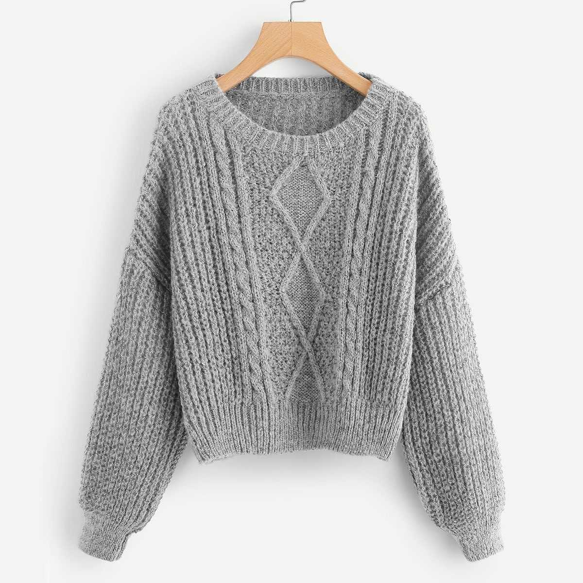 Drop Shoulder Mixed Knit Sweater in Grey by ROMWE on GOOFASH