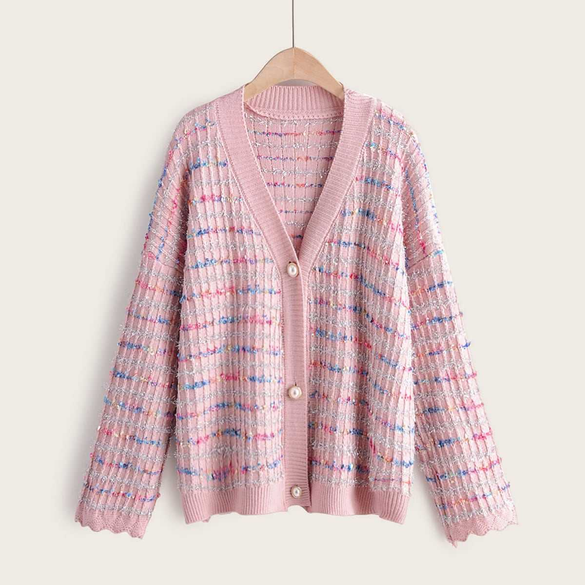 Drop Shoulder Rainbow Stripe Button Front Cardigan in Pink by ROMWE on GOOFASH