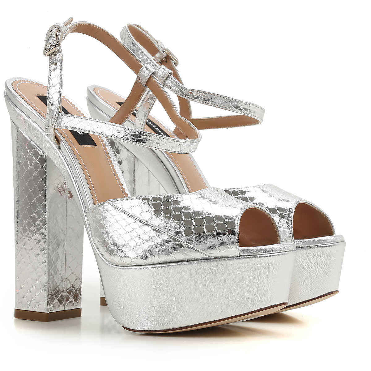 Dsquared2 Sandals for Women On Sale in Outlet Silver SE - GOOFASH