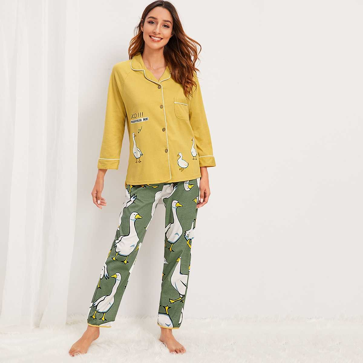 Duck Print Button-up Pajama Set in Multicolor by ROMWE on GOOFASH