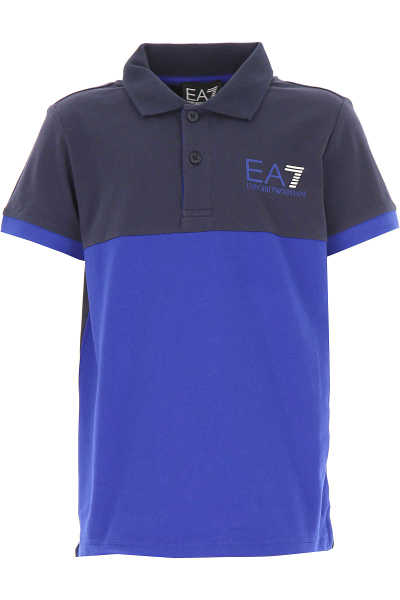 Emporio Armani Kids Polo Shirt for Boys Blue USA - GOOFASH