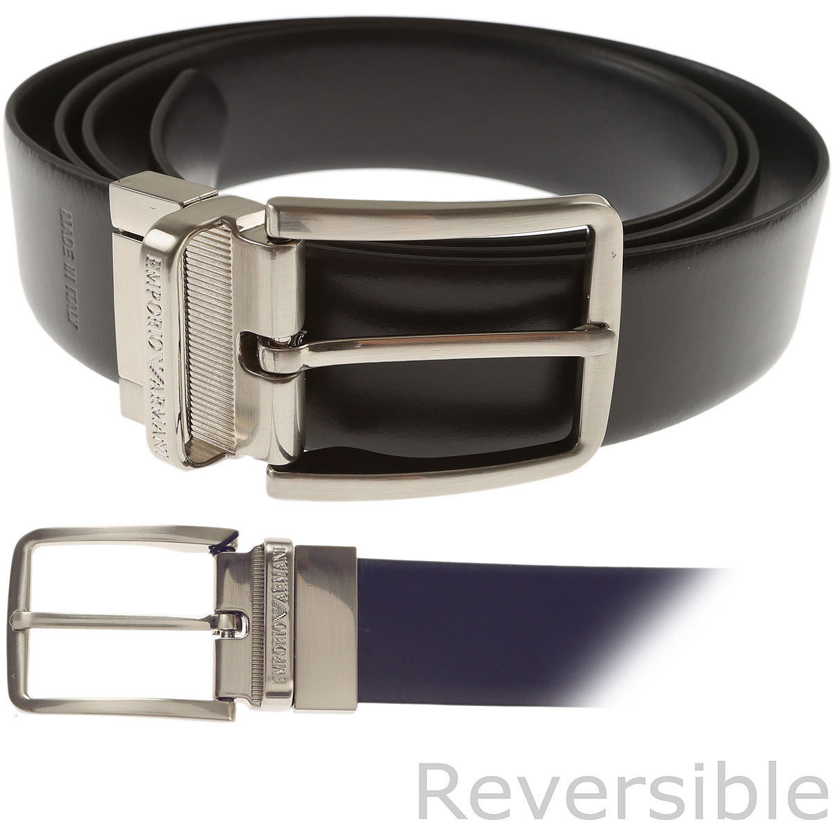 Emporio Armani Mens Belts Dark Midnight Blue SE - GOOFASH