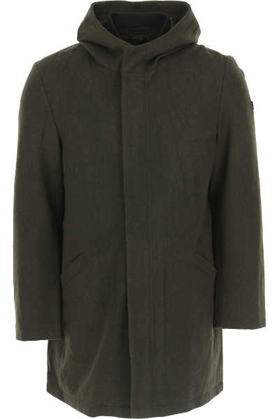 Emporio Armani Men's Coat in Outlet Military Green USA - GOOFASH
