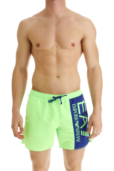 Emporio Armani Swim Shorts Trunks for Men Fluo Green USA - GOOFASH