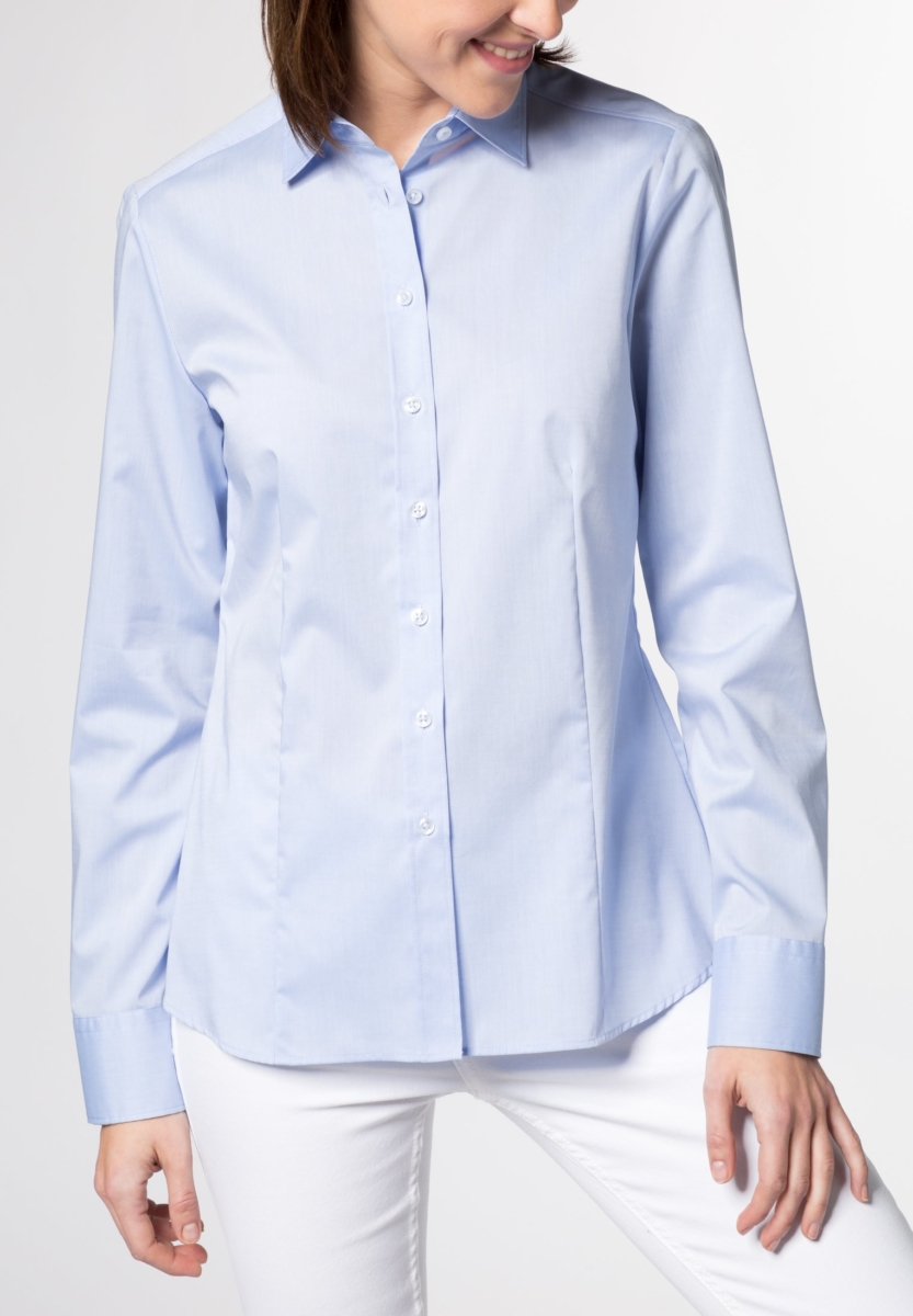 Eterna Long Sleeve Blouse Modern Classic Stretch Light Blue Uni UK - GOOFASH