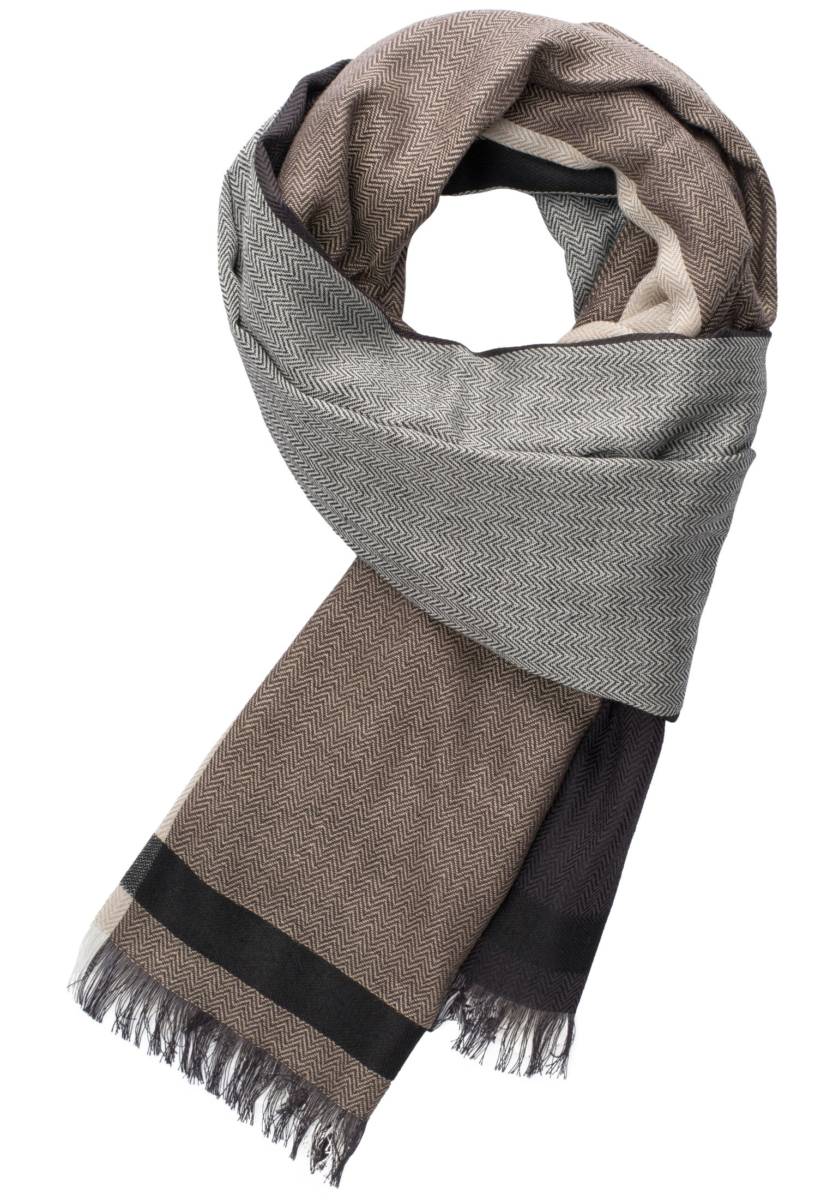 Eterna Scarf Brown/Beige Patterned UK - GOOFASH