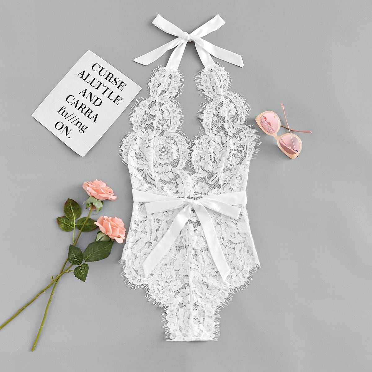 Eyelash Floral Lace Teddy Bodysuit in White by ROMWE on GOOFASH