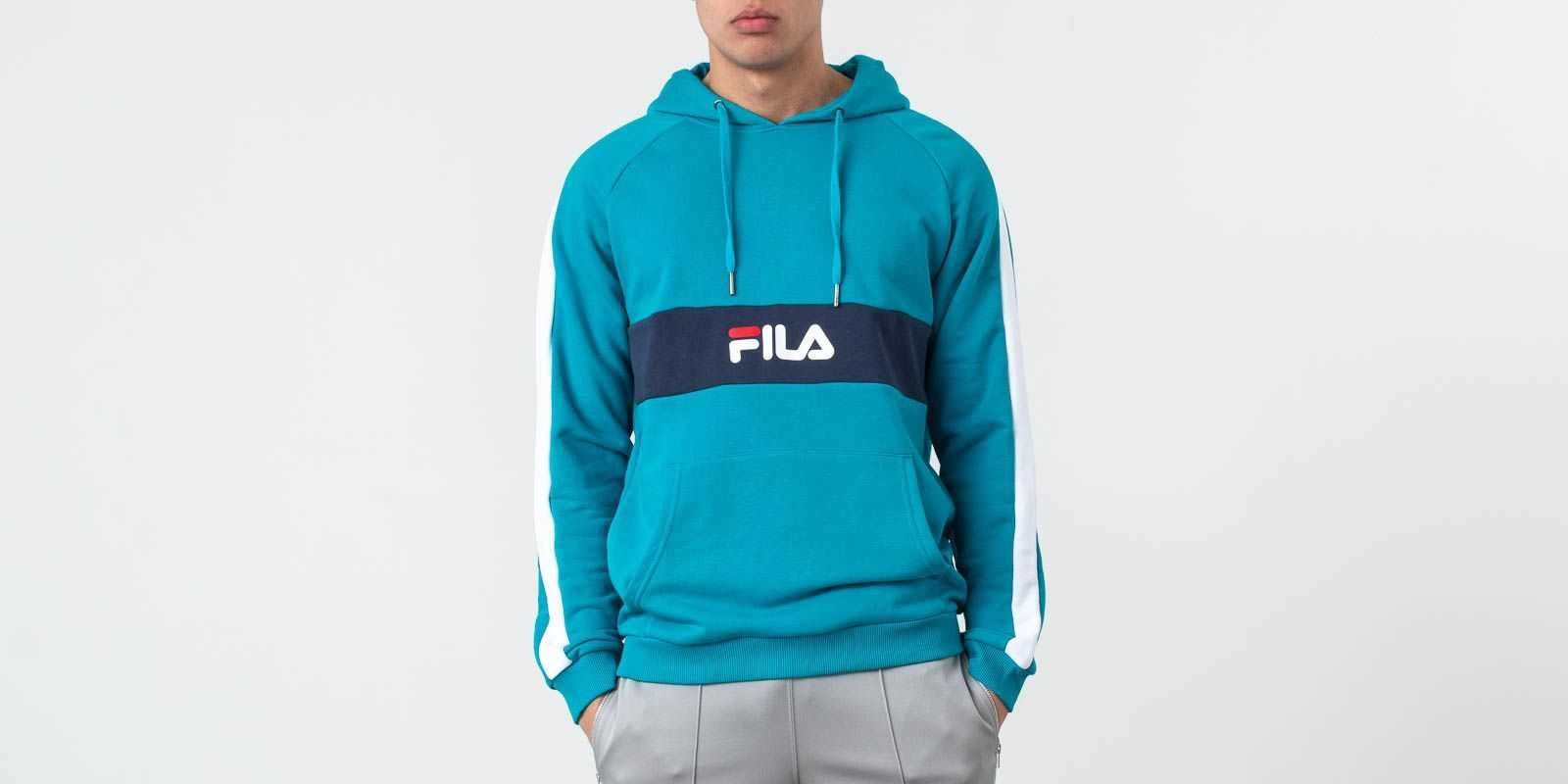 FILA Jeremy Blocket Hoodie Caribbean Sea/ Bright White/ Black Iris UK - GOOFASH