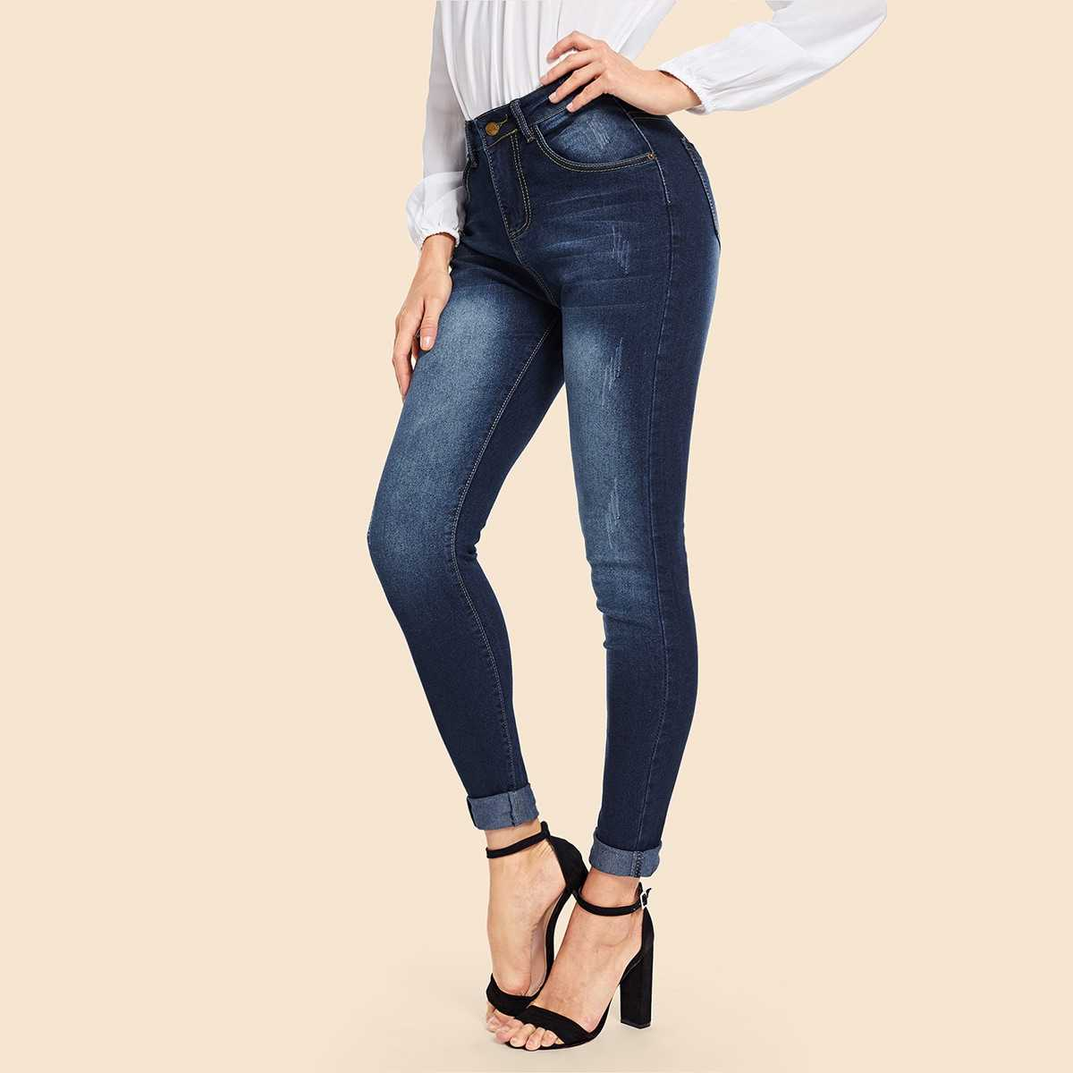 Faded Skinny Jeans in Navy by ROMWE on GOOFASH