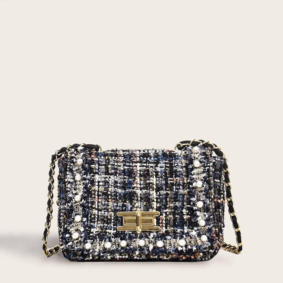 Faux Pearl Decor Tweed Chain Bag in Multicolor by ROMWE on GOOFASH