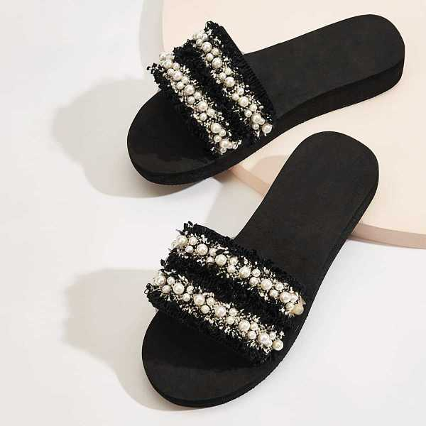 Faux Pearl Decor Tweed Flat Sliders in Black and White by ROMWE on GOOFASH