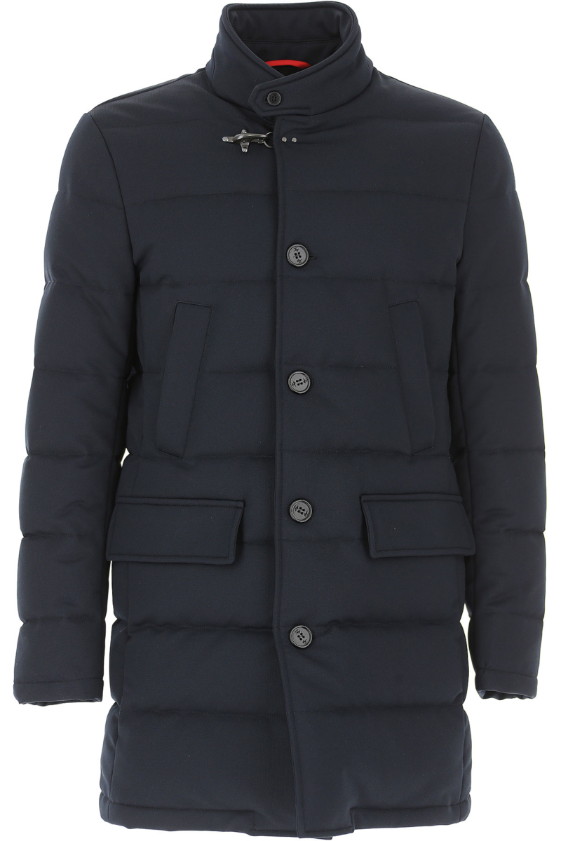 Fay Men's Coat On Sale in Outlet Navy Blue SE - GOOFASH
