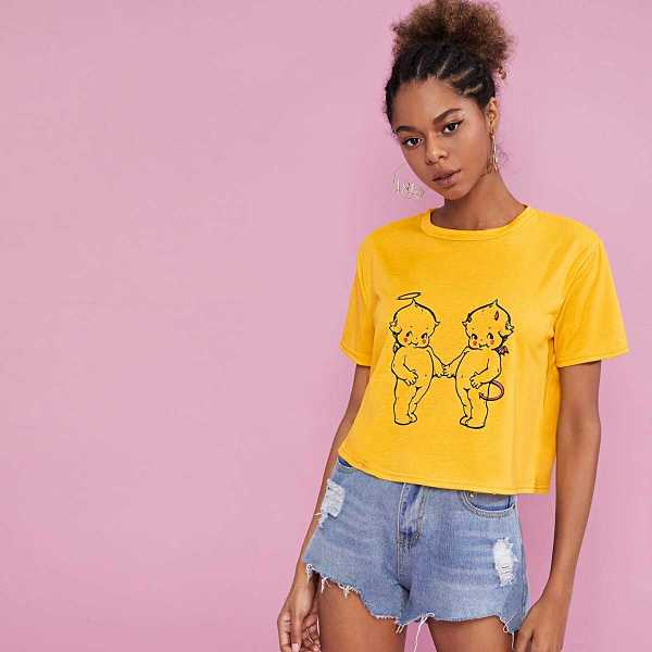Figure Print Round Neck Tee in Yellow by ROMWE on GOOFASH