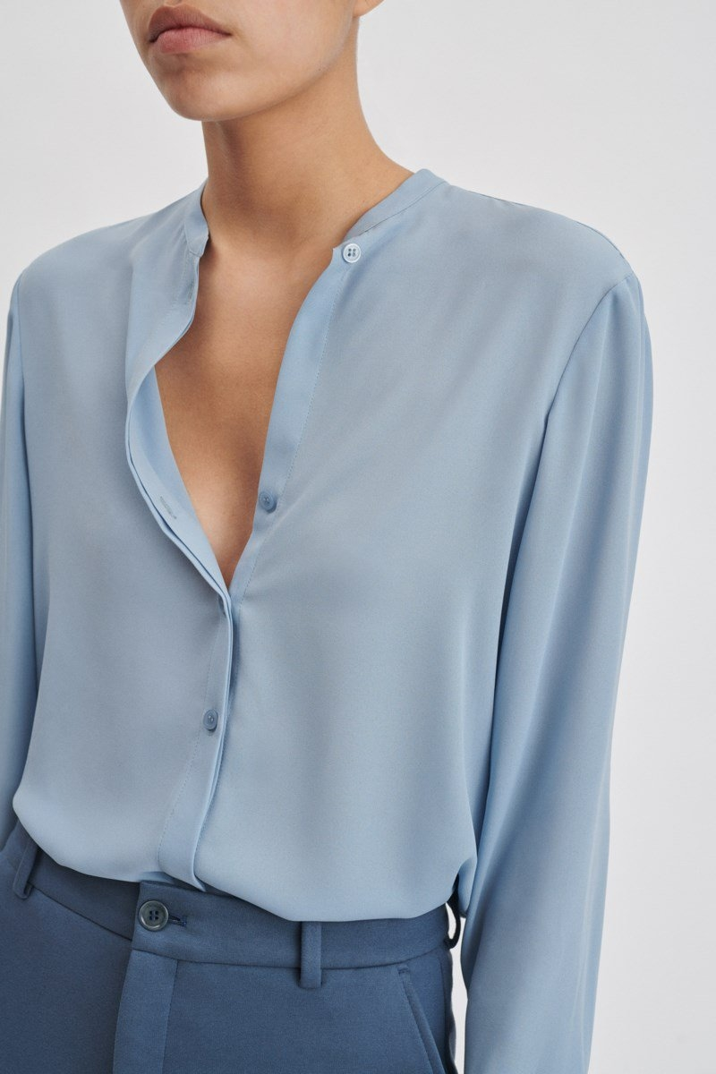 Filippa K Adele Blouse Frosty Blue UK - GOOFASH