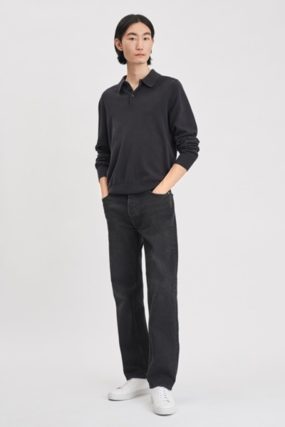 Filippa K Knitted Polo Shirt Ink SE - GOOFASH