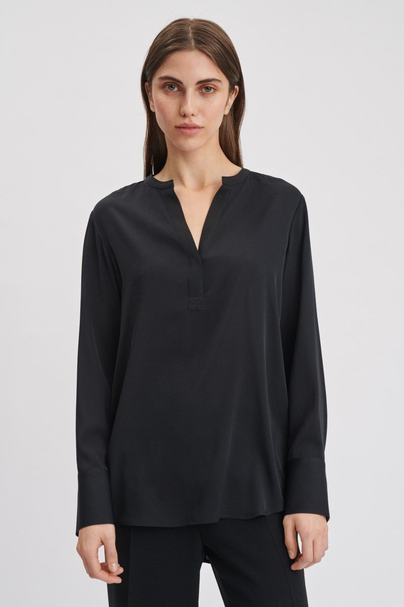 Filippa K Pull-on Silk Blouse Black UK - GOOFASH