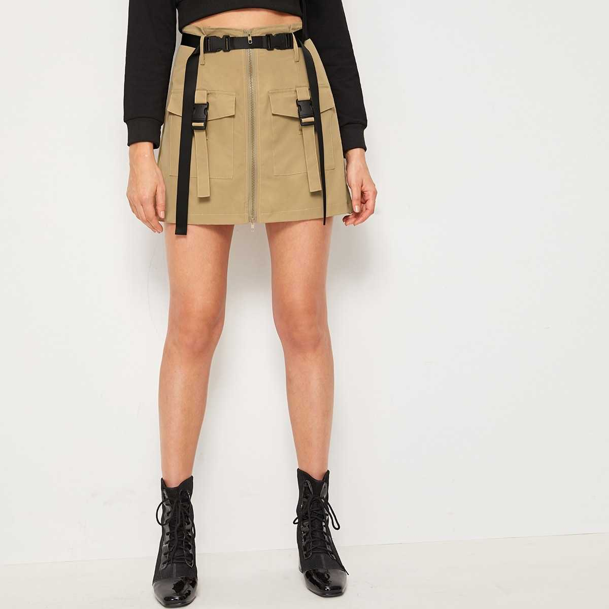 Flap Pocket Front Belted Cargo Skirt in Khaki by ROMWE on GOOFASH