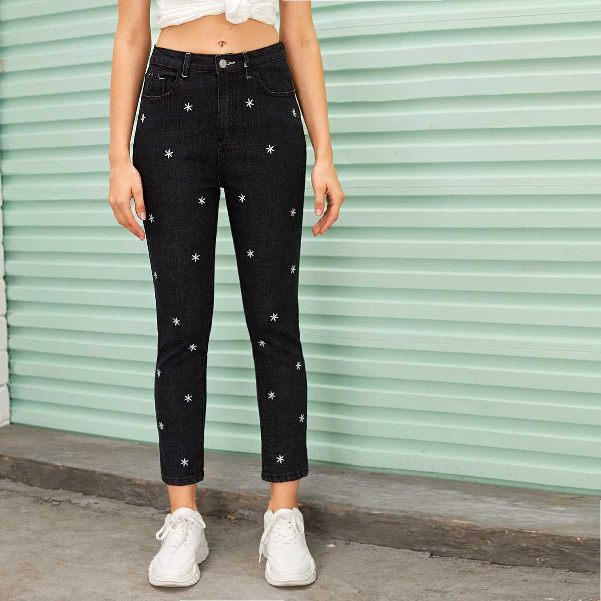 Floral Embroidered Button Fly Carrot Jeans in Black by ROMWE on GOOFASH