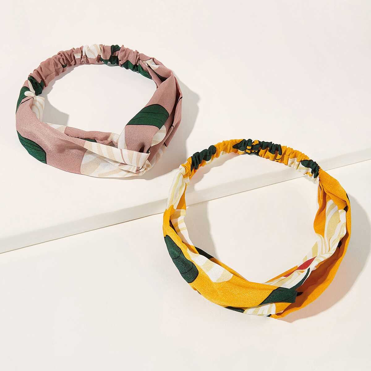Floral Pattern Headband 2pcs in Multicolor by ROMWE on GOOFASH