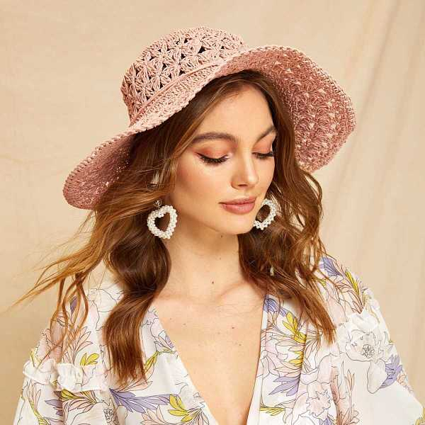 Flower Decor Hollow Straw Paper Floppy Hat - Shein - GOOFASH