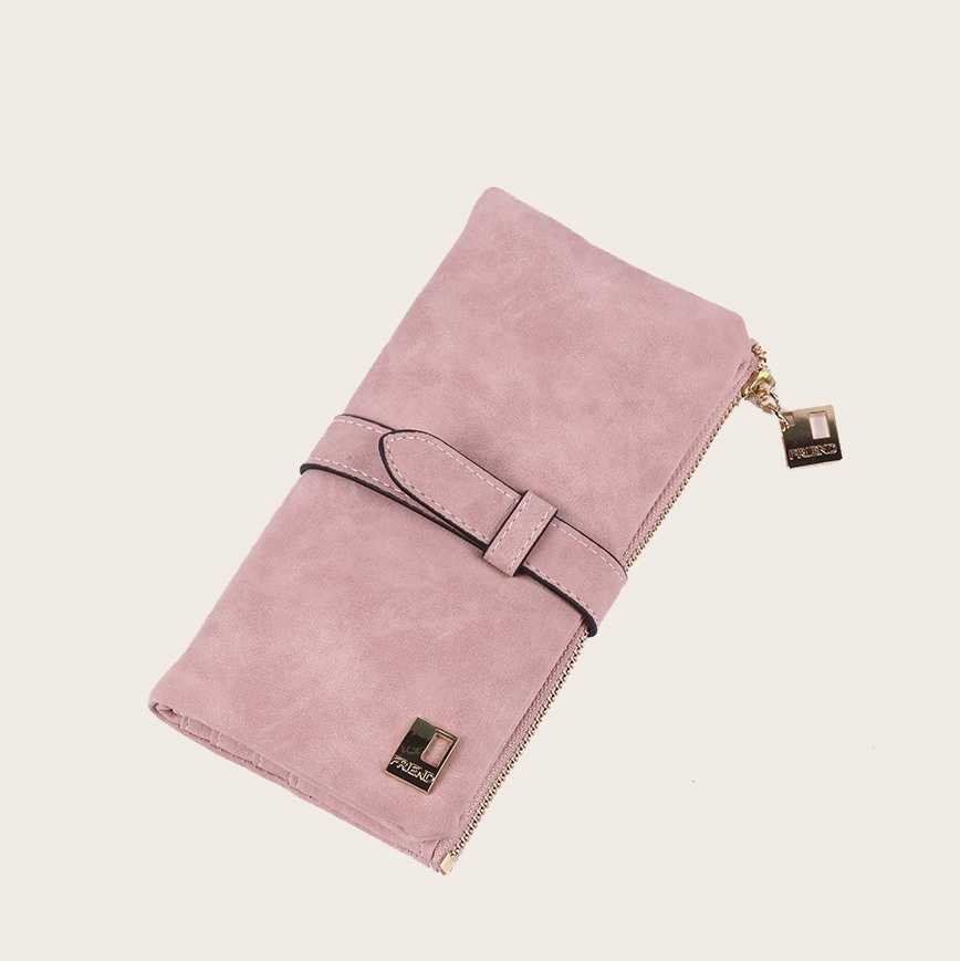 Fold Over Suede Purse in Pink by ROMWE on GOOFASH