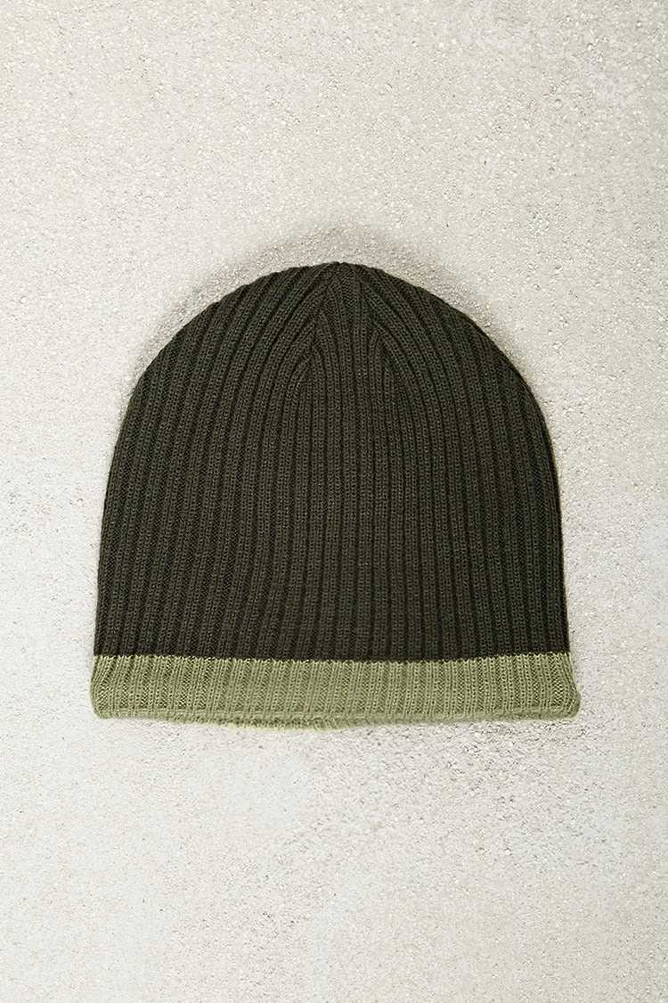 Forever21Men Cuffless Ribbed Beanie Hat - Olive/Green UK - GOOFASH