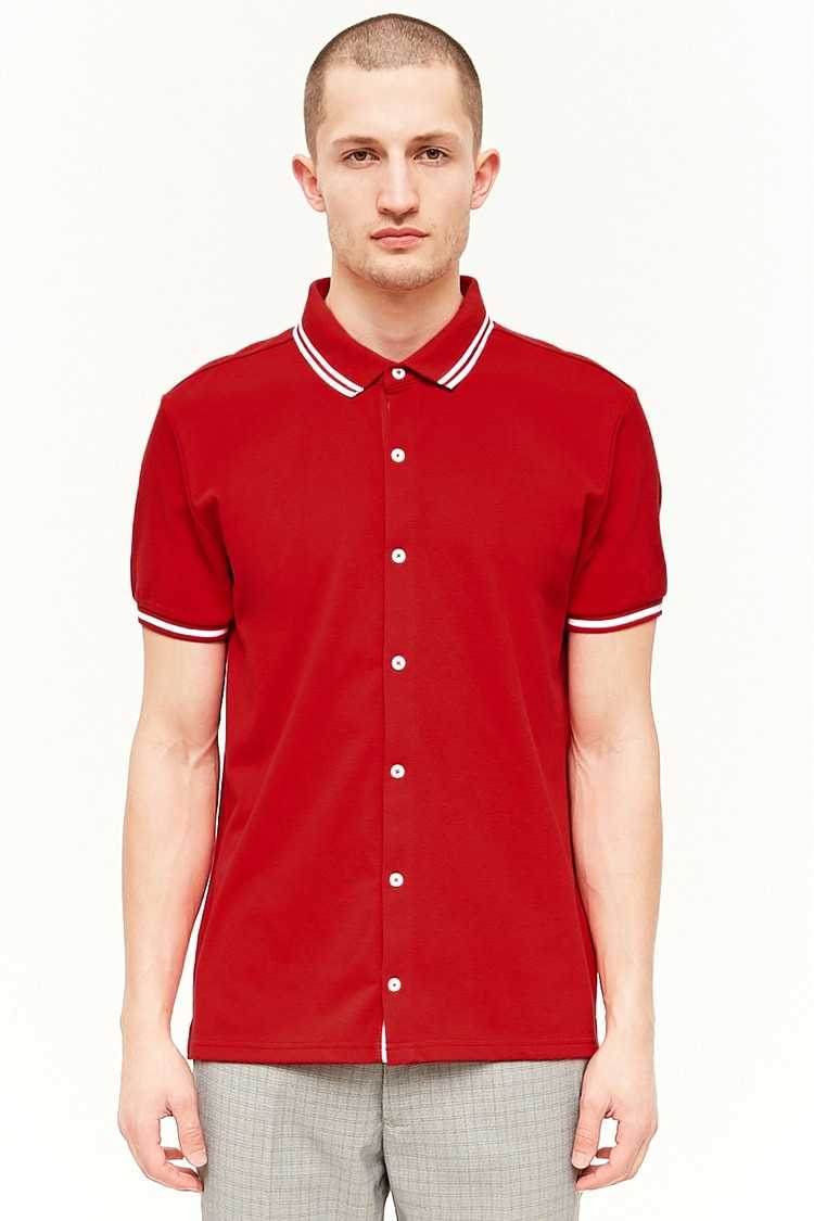 Forever21Men's Button-Front Polo Shirt - Red UK - GOOFASH
