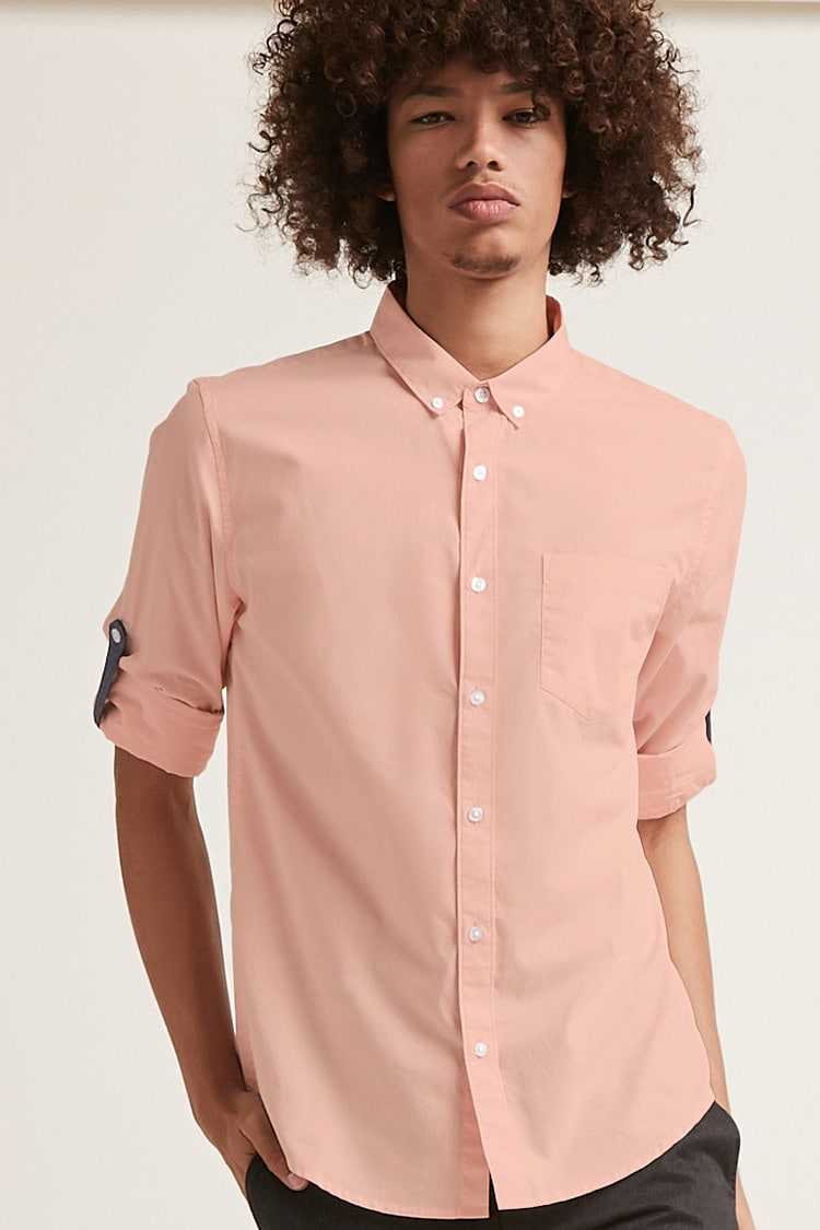Forever21Men's Button-Front Roll-Tab Sleeve Shirt - Pink UK - GOOFASH