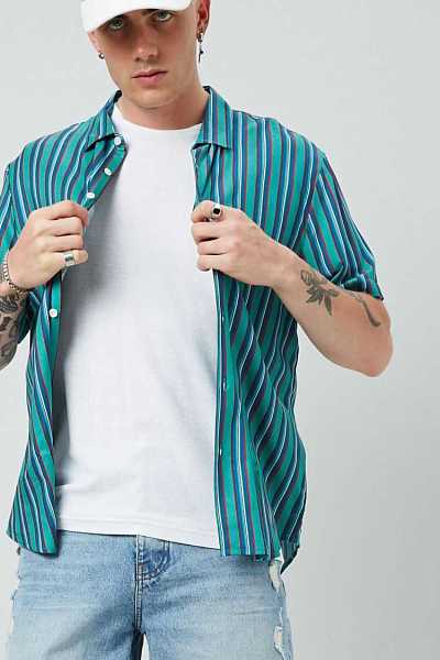 Forever21Men's Classic Striped Print Shirt - Turquoise/Red UK - GOOFASH