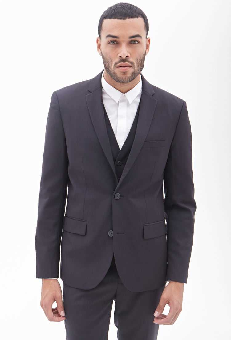 Forever21Men's Classic Two-Button Blazer - Charcoal UK - GOOFASH