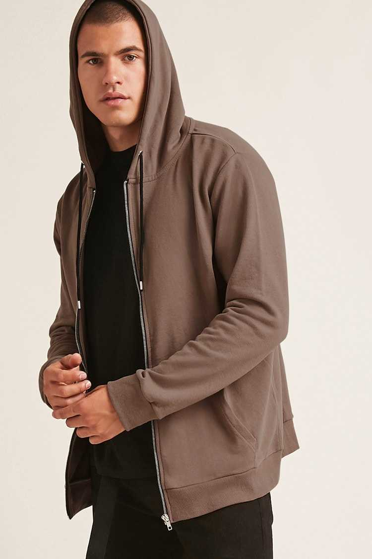 Forever21Men's Classic Zip-Front Hoodie - Taupe UK - GOOFASH