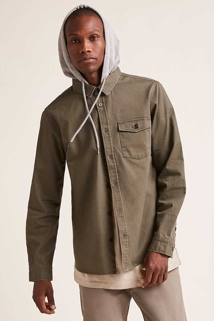 Forever21Men's Contrast Hooded Canvas Shirt - Olive/Heather Grey UK - GOOFASH