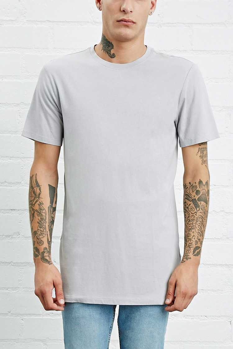 Forever21Men's Cotton-Blend Longline Tee Shirt - Grey UK - GOOFASH