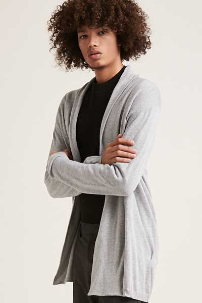 Forever21Men's Draped Open-Front Cardigan Sweater - Heather Grey UK - GOOFASH