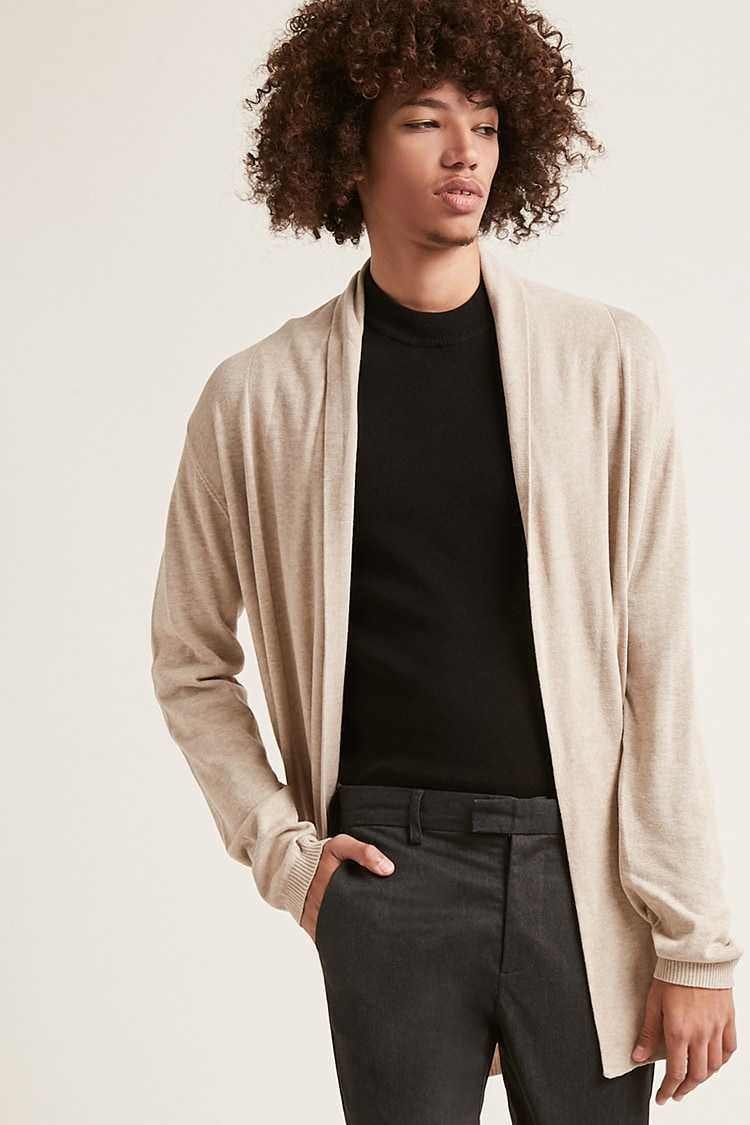 Forever21Men's Draped Open-Front Cardigan Sweater - Taupe UK - GOOFASH