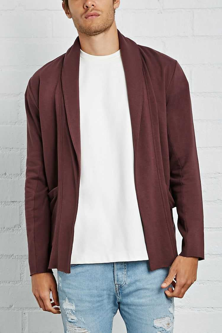 Forever21Men's French Terry Cardigan Sweater - Burgundy UK - GOOFASH