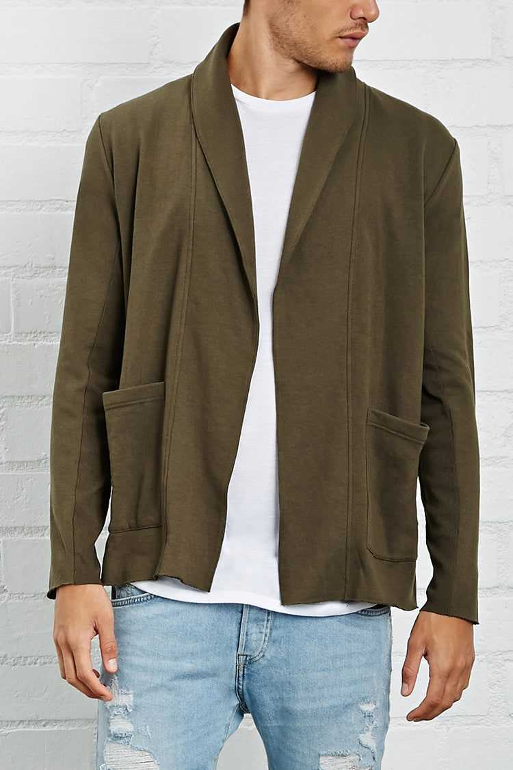 Forever21Men's French Terry Cardigan Sweater - Olive UK - GOOFASH