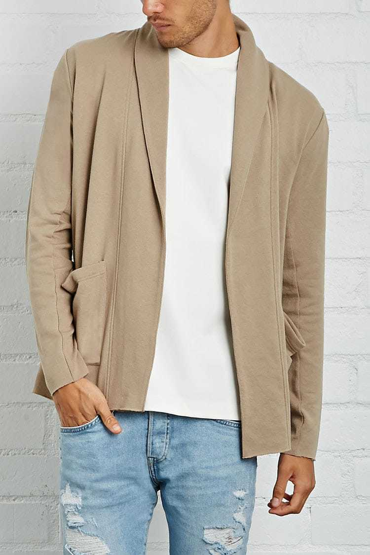 Forever21Men's French Terry Cardigan Sweater - Taupe UK - GOOFASH