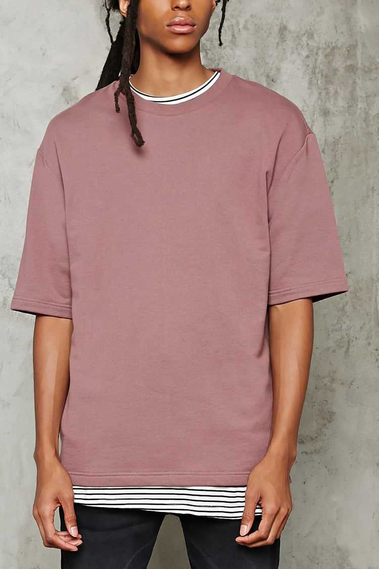Forever21Men's French Terry Knit Tee Shirt - Mauve UK - GOOFASH