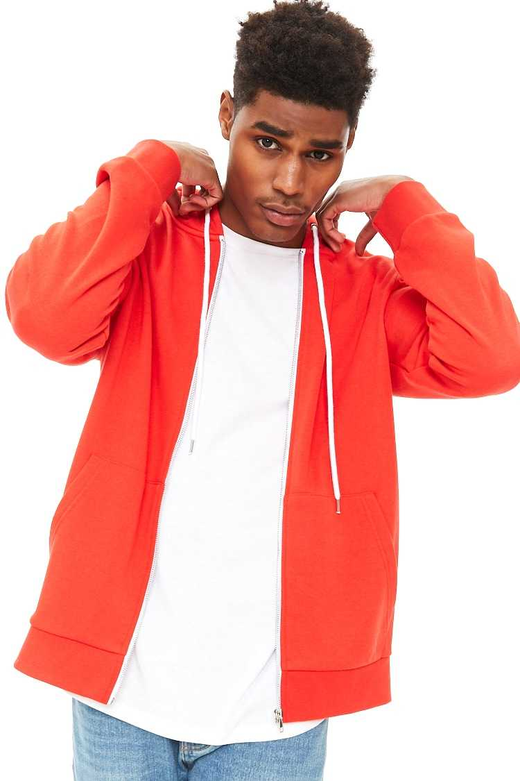 Forever21Men's French Terry Zip-Up Hoodie - Tomato UK - GOOFASH