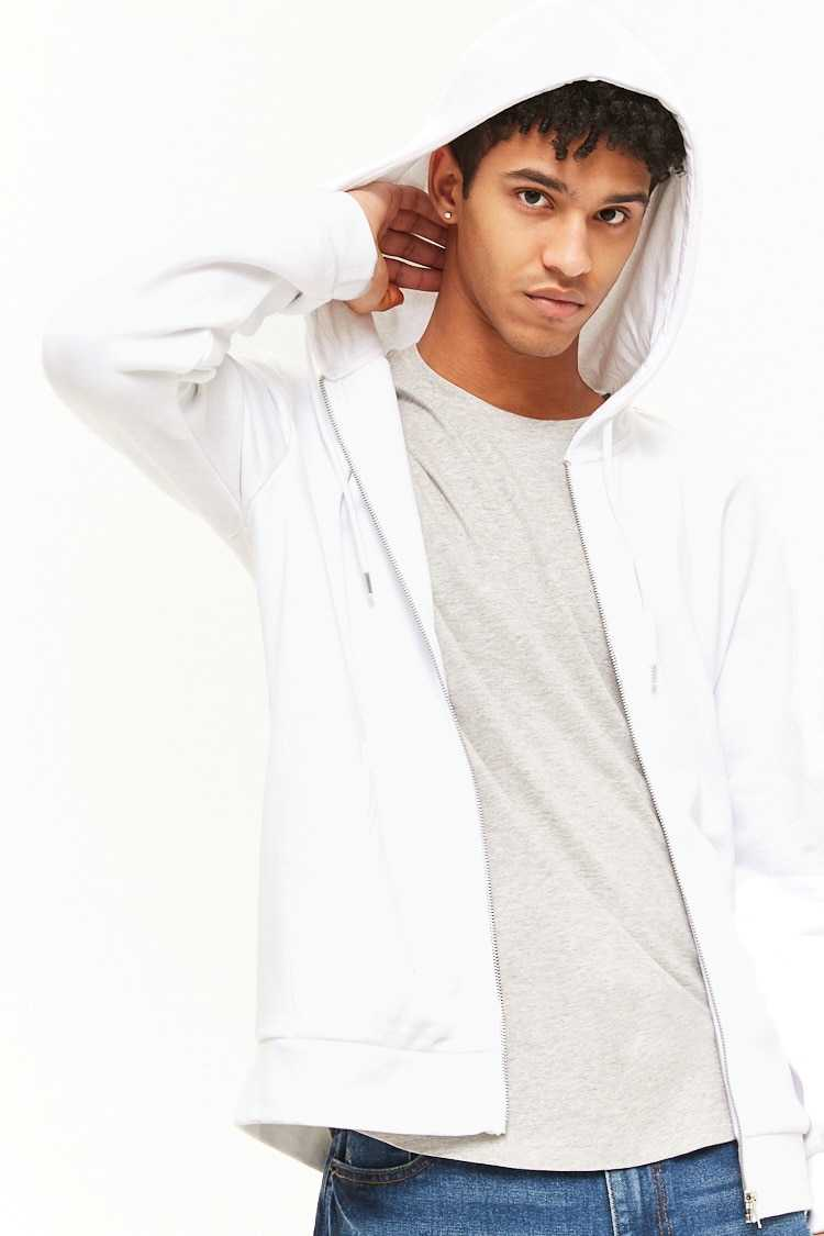 Forever21Men's French Terry Zip-Up Hoodie - White UK - GOOFASH