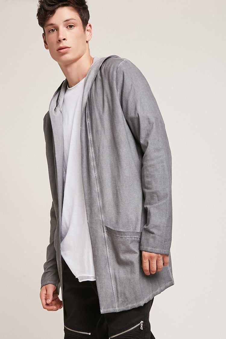 Forever21Men's Hooded Oil Wash Open-Front Cardigan Sweater - Grey UK - GOOFASH