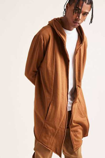 Forever21Men's Hooded Open-Front Longline Cardigan Sweater - Chestnut UK - GOOFASH