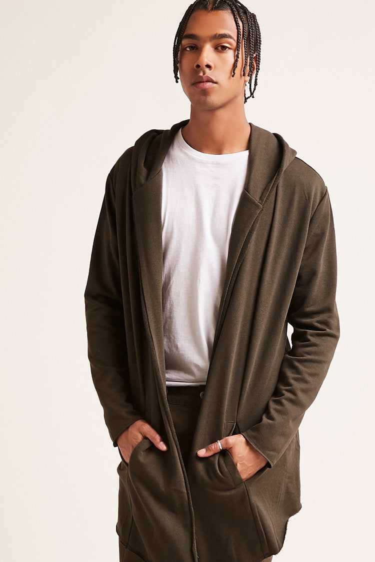 Forever21Men's Hooded Open-Front Longline Cardigan Sweater - Olive UK - GOOFASH