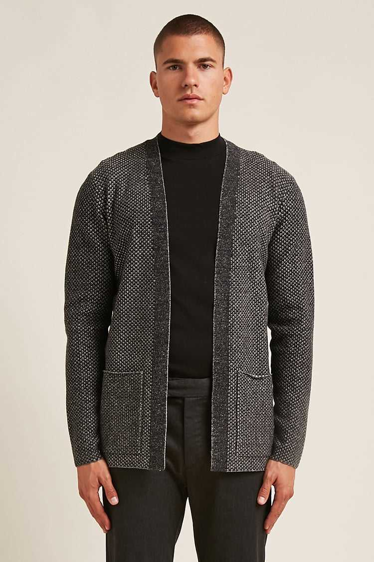 Forever21Men's Marled Open-Front Cardigan Sweater - Charcoal UK - GOOFASH