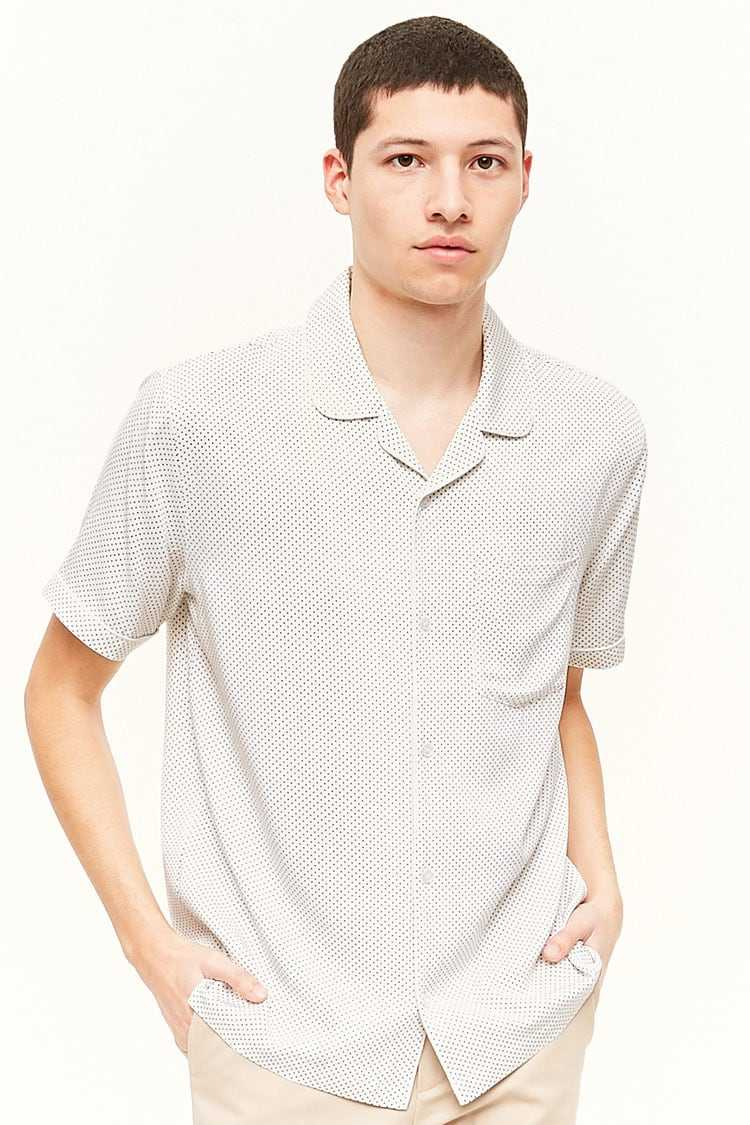 Forever21Men's Pin-Dot Print Shirt - White/Black UK - GOOFASH