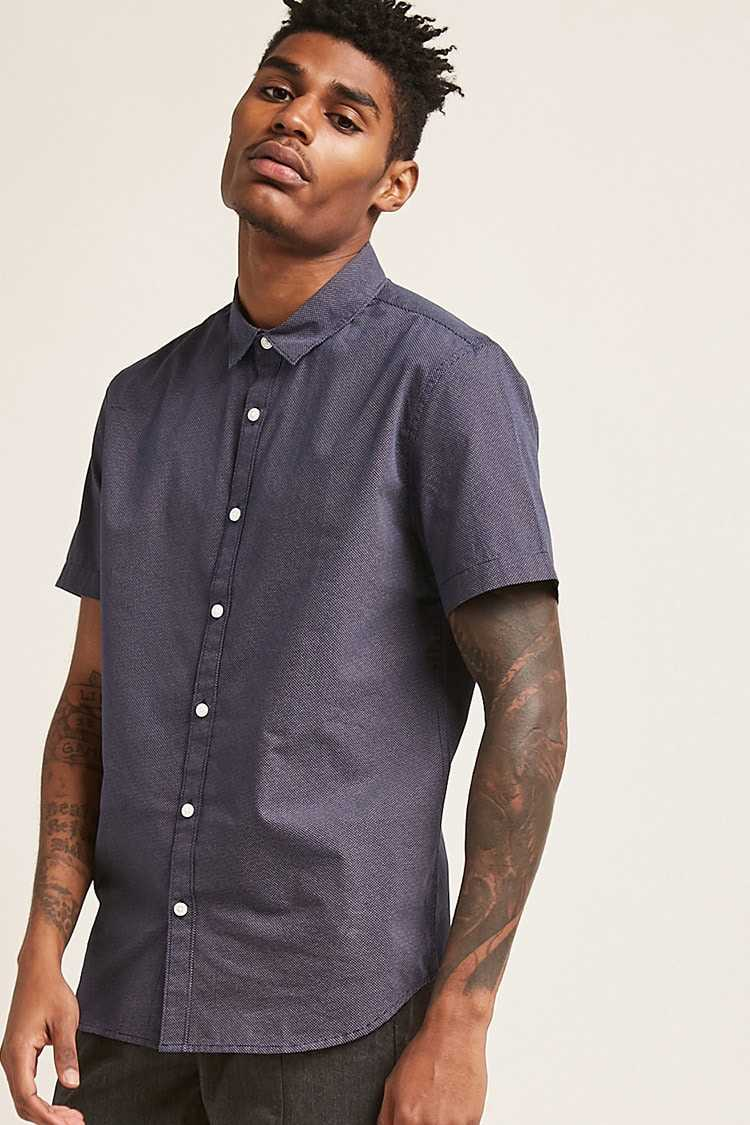 Forever21Men's Pin Dot Shirt - Navy/White UK - GOOFASH