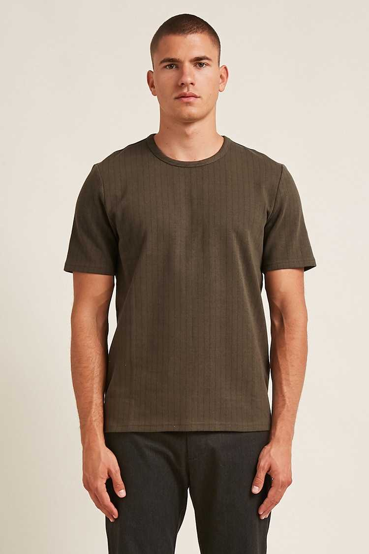 Forever21Men's Pinstripe-Stitched Tee Shirt - Olive/Black UK - GOOFASH